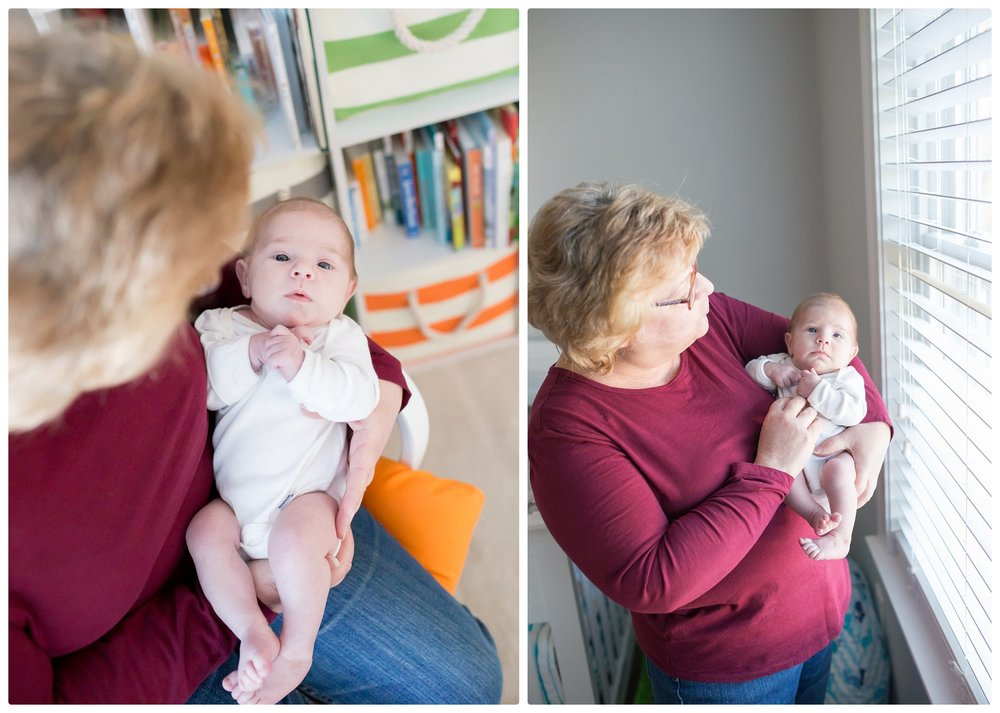 Grandma holds new grandson in nursery photos in Boston Massachusetts