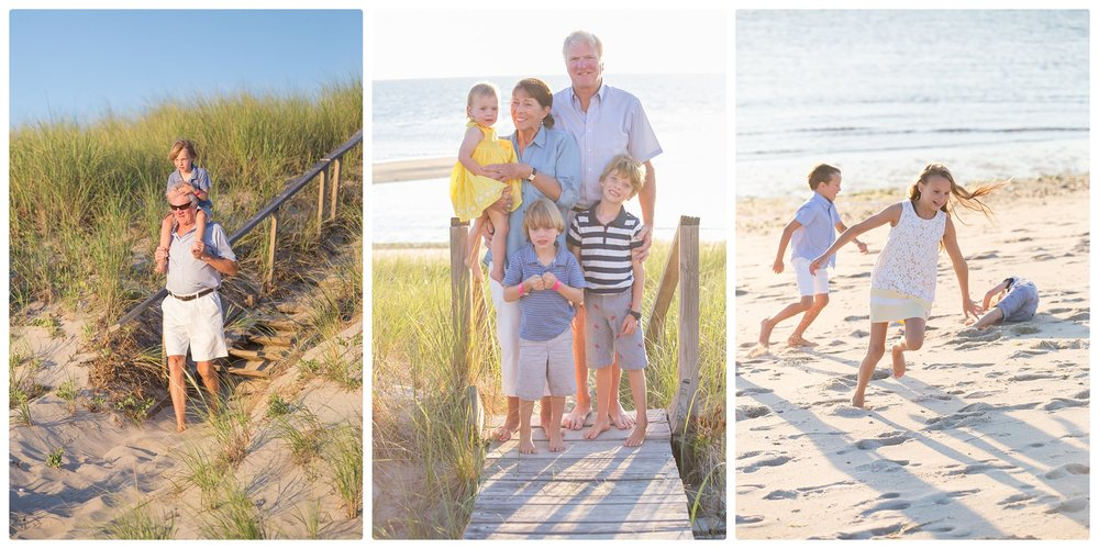 Family playing on a beach during a Family photo session in Truro Massachusetts.