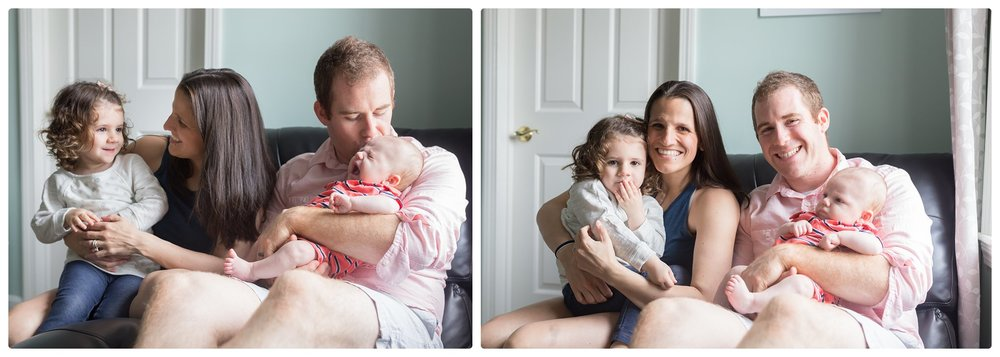 Mom and Dad cuddle newborn and toddler during Newborn Lifestyle session in Massachusetts.