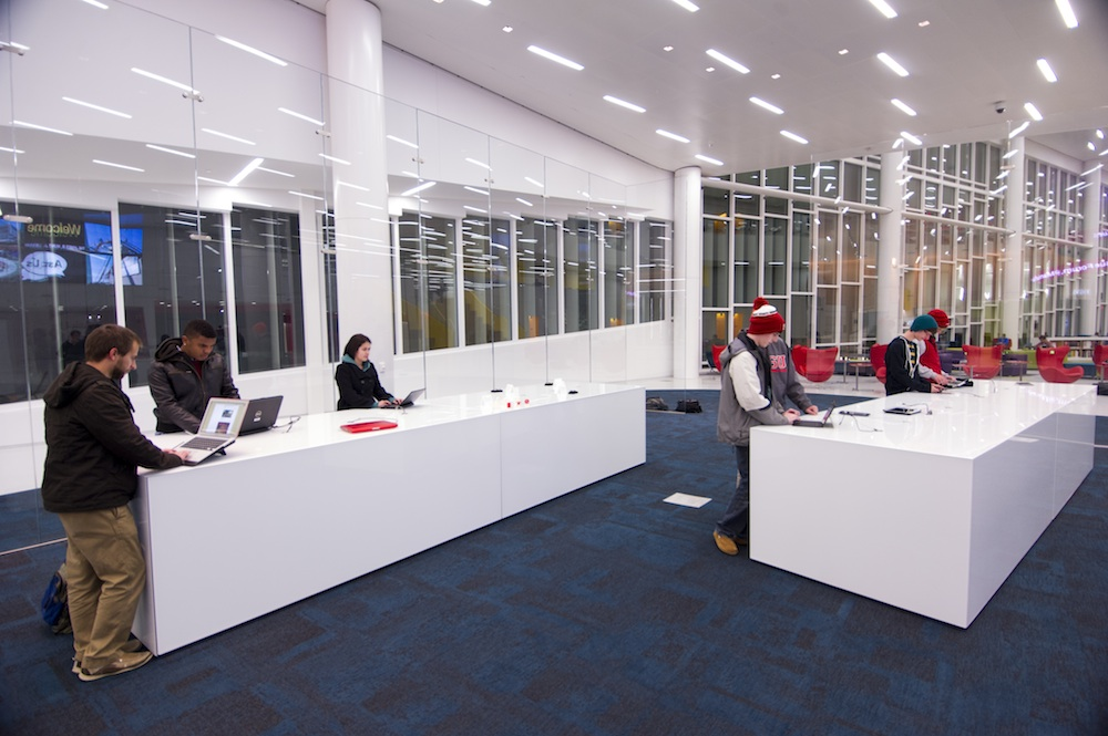 Bespoke technology stations designed for  Snohetta's Hunt Library  at NCSU