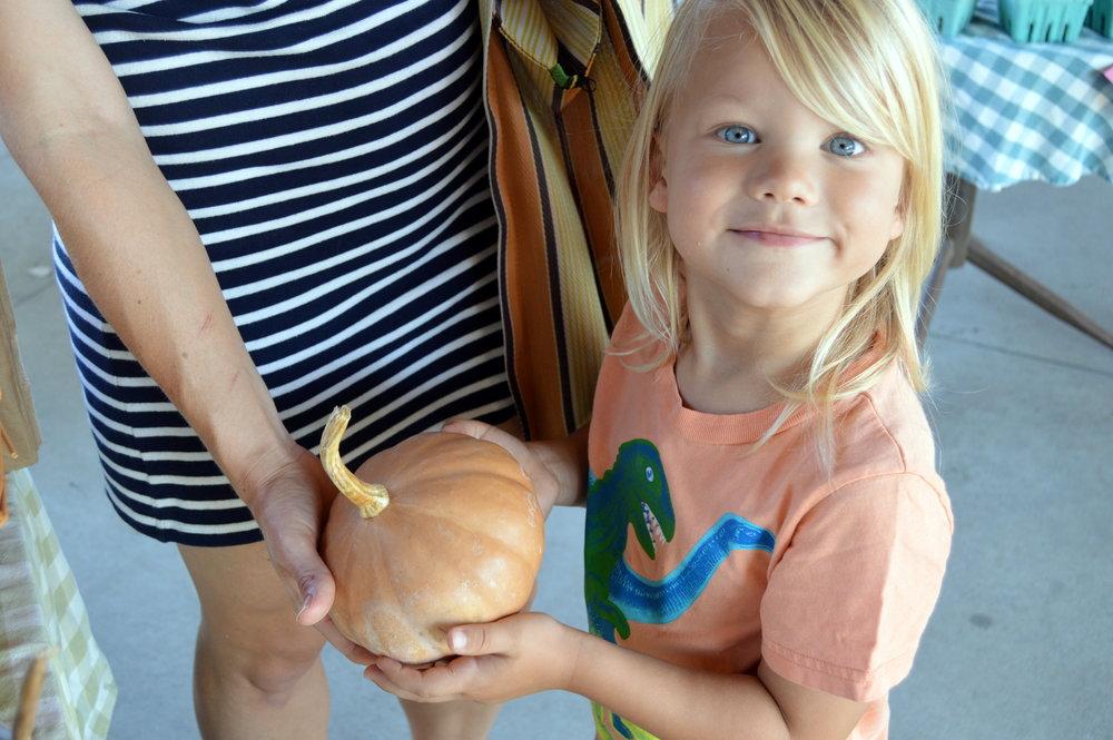 Asa scores his first pumpkin of the season