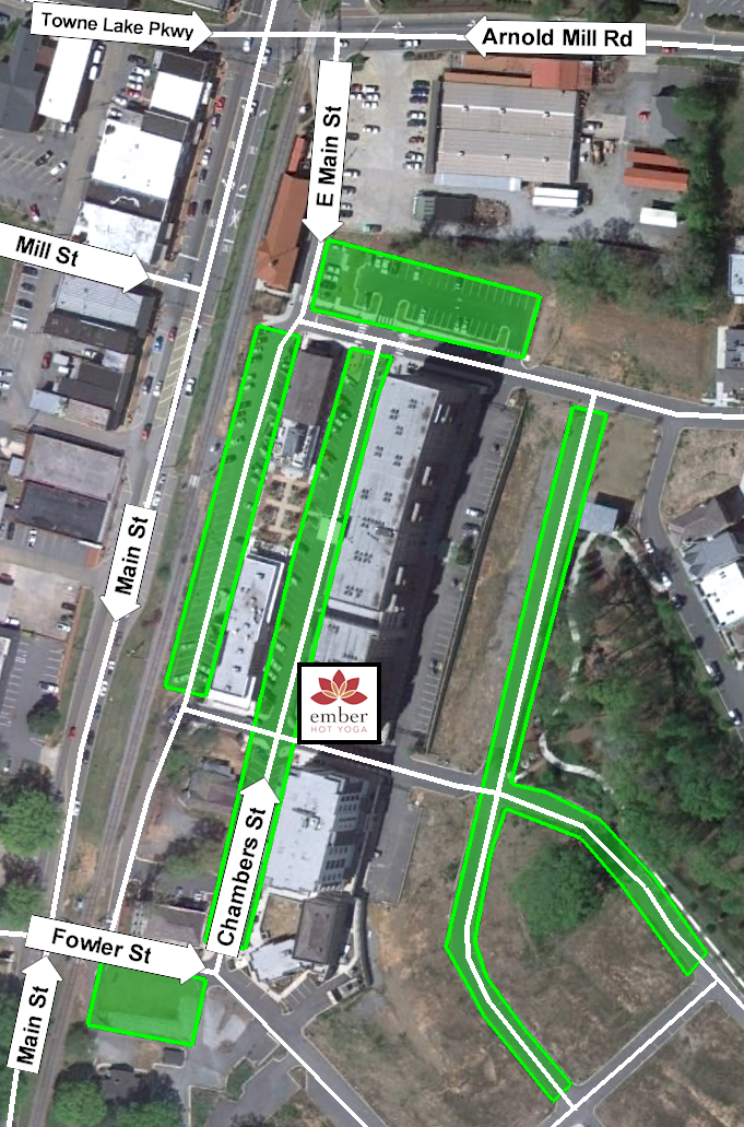 Parking Map. Green indicates free public parking.