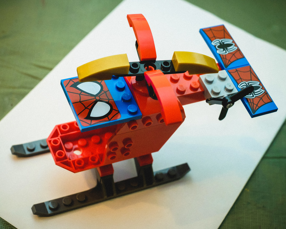 My son took some creative license in making the Lego helicopter. I like it.