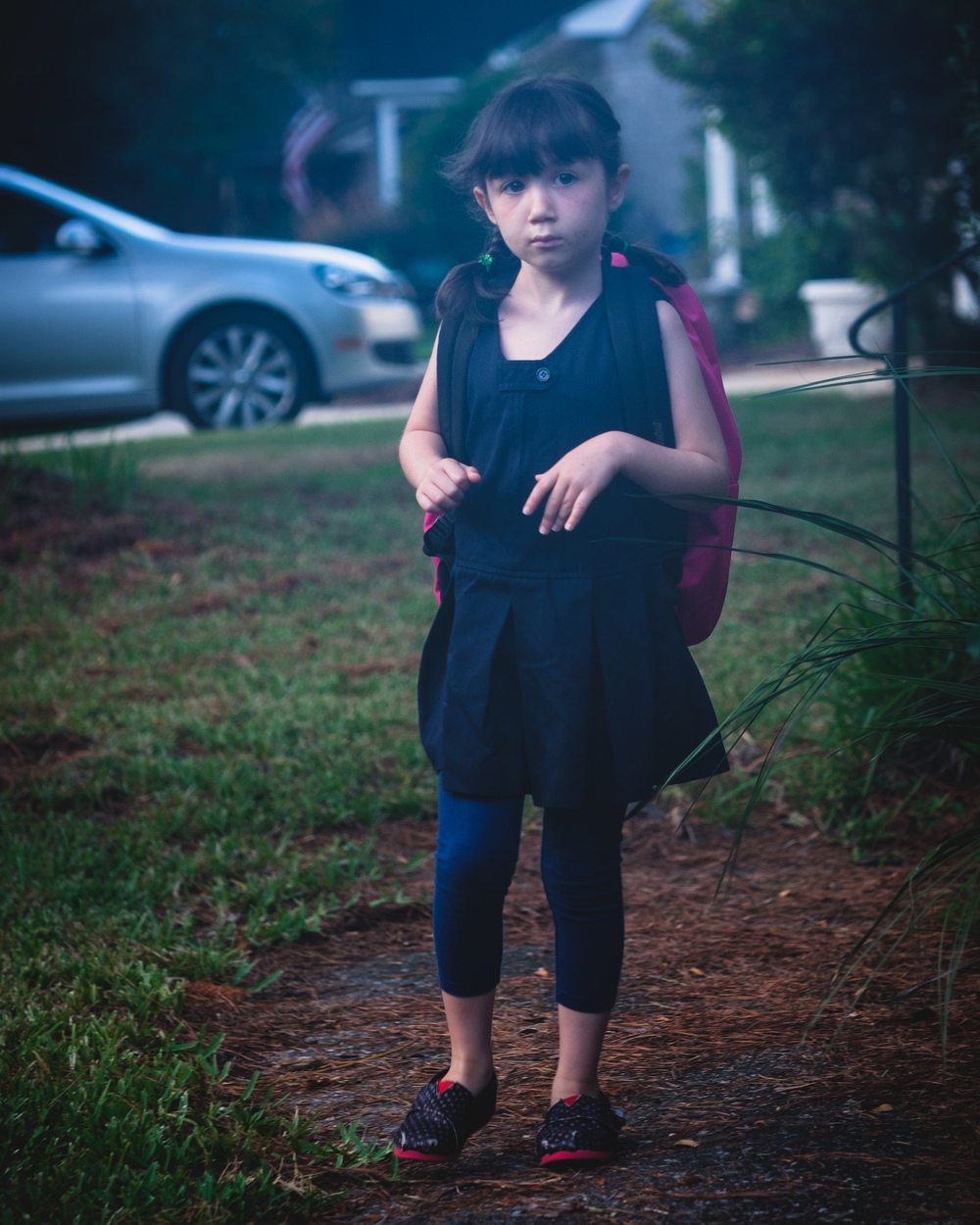 First day of school. First grade. (Humid morning filter)
