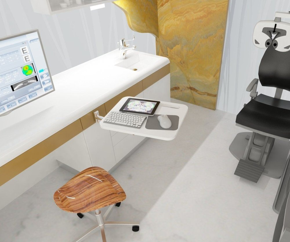ROTAB - face your patient   The swivel computer table addition for a patient friendly approach. The swivel table enables to face the patient while typing but can be placed above the counter top during the exam for more space.