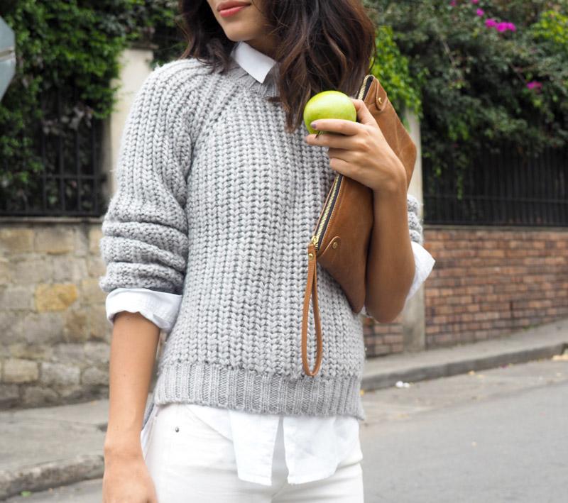 blog looks: ana buendia usando saco gris , cartera cafe y jeans levis