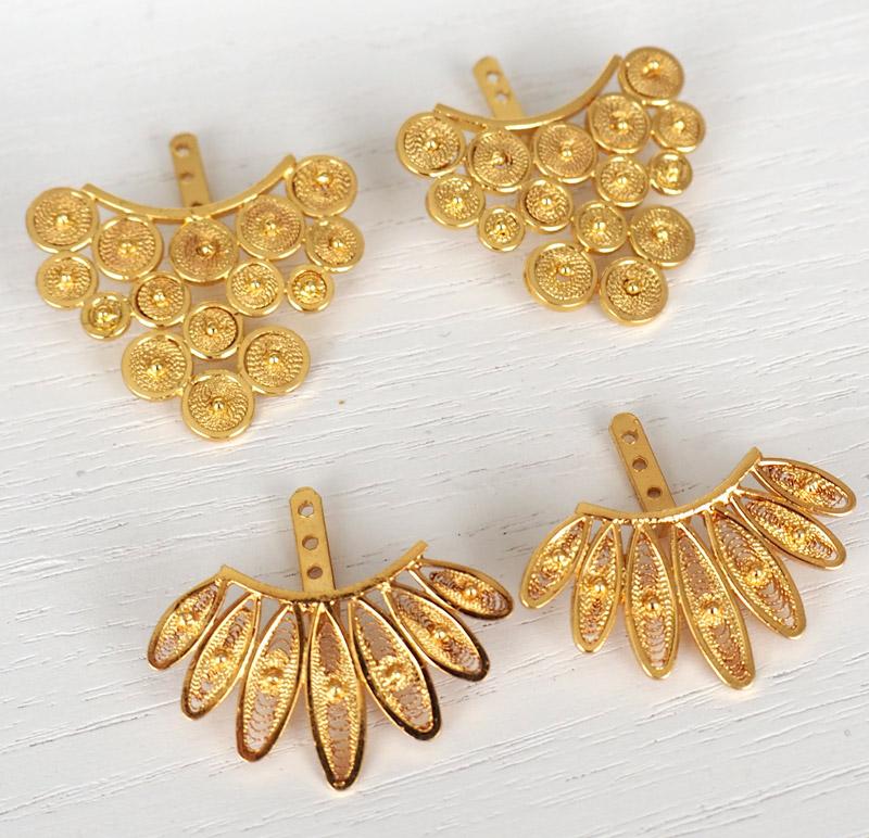 aretes de oro y plata de tres alams