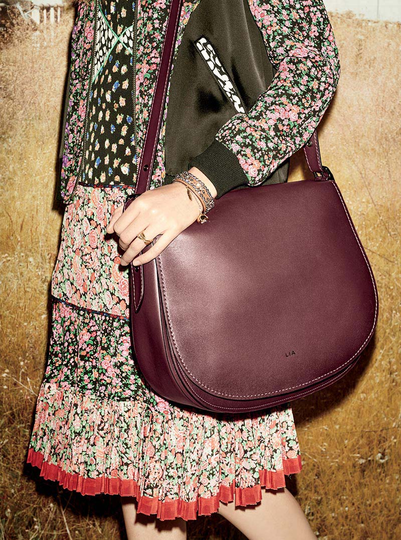 falda estamapada plisada de coach con cartera vino tinto de colgar de coach 2016