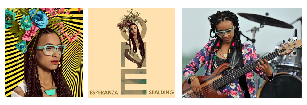 Jazz musician Esperanza Spalding wearing Natalie Joy's limited edition Enamel and Crystal No. 1 Necklace (left, middle), and again seen wearing Natalie Joy (right) in the Aventine Bracelet and Lupa Necklace, both from the Ancient Keys Collection.