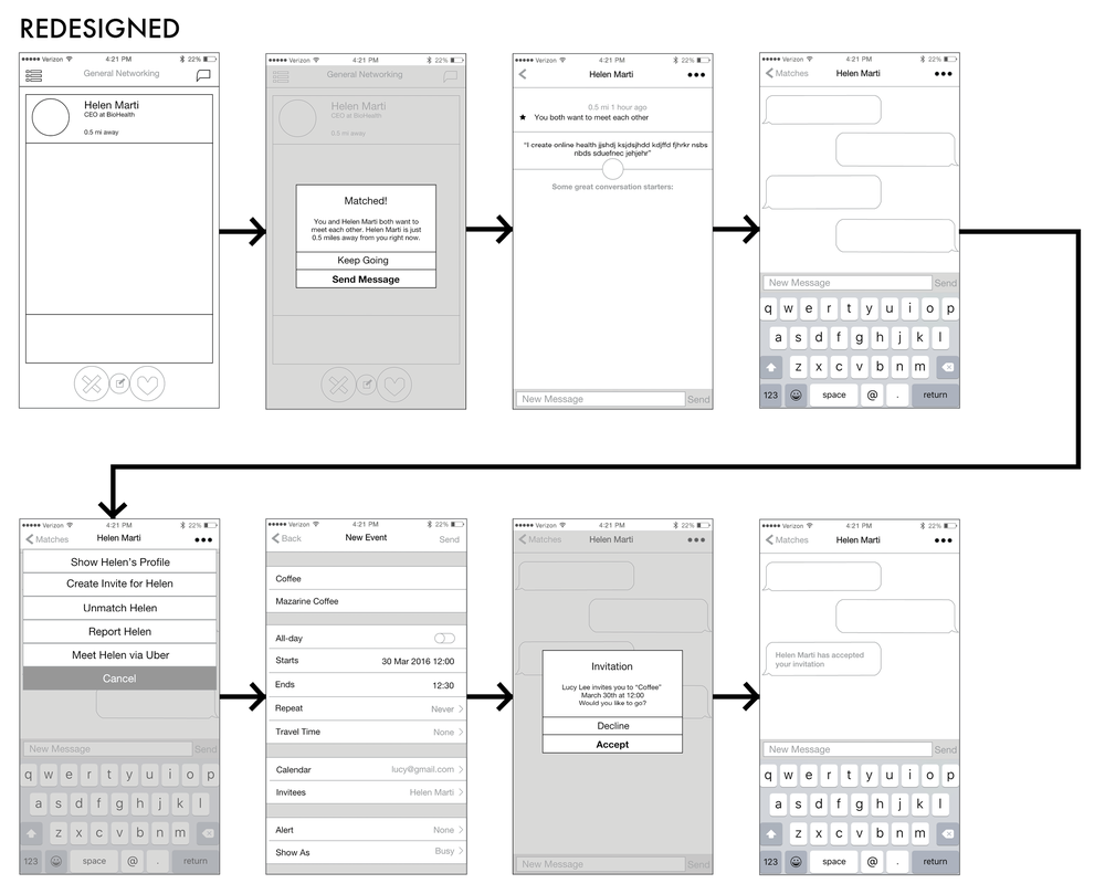 These are the redesigned wireframes including the new feature of creating an invite in the menu.