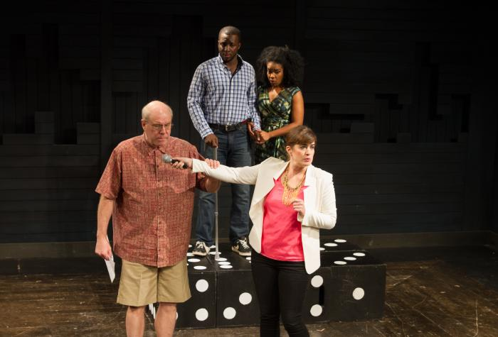 Shitloads of Money by Brendan Hill. L to R: Jay Patterson, Andy Lucien, Jessica Frances Dukes, Megan Hill. Photo Credit: Jody Christopherson
