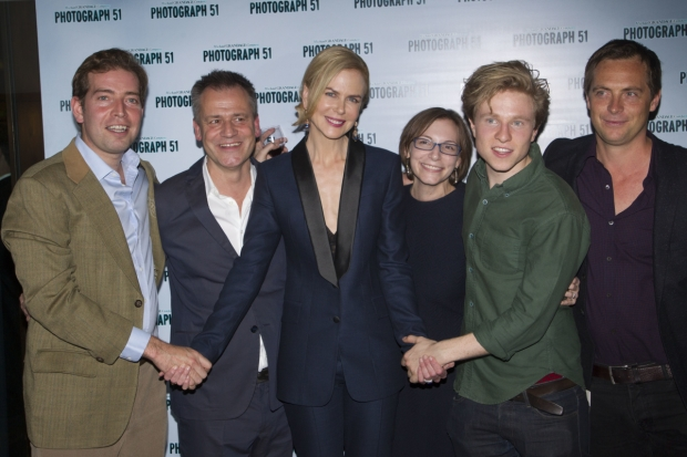 The creative team behind the London run of Photograph 51. From left, Edward Bennett (Francis Crick), Michael Grandage (director), Nicole Kidman (Rosalind Franklin), Anna Ziegler (playwright), Will Attenborough (James Watson), and Stephen Campbell Moore (Maurice Wilkins)