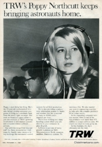 Poppy Northcutt in a 1969 ad in Time Magazine for her contractor, TRW.