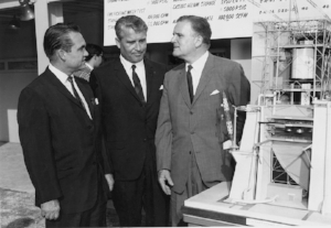 Alabama Governor George Wallace with von Braun and NASA Administrator James Webb (right) at Marshall Space Flight Center, Huntsville, 1965