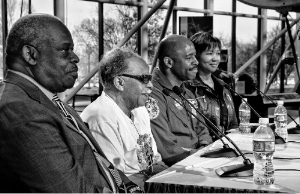Morgan Watson, NASA's first African American engineer (left), speaking at a panel at the Smithsonian National Air & Space Museum in 2010 with (from left) Julius Montgomery, the first African American hired as a professional at Cape Canaveral, and astronauts Leland Melvin and Mae Jemison. Photo by Eric Long.