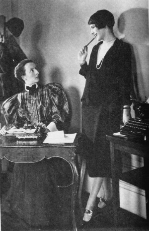 Lois Long (aka Lipstick, right) in her office at The New Yorker, c. 1920s