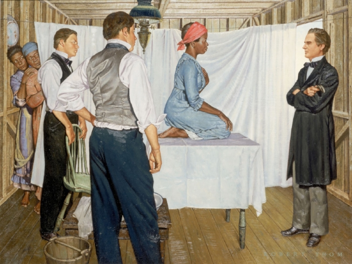 """J. Marion Sims: Gynecologic Surgeon,"" painting by Robert Thom, from the Great Moments in Medicine series, shows Sims with Anarcha, as Betsey and Lucy look on."