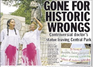 Front page of New York Daily News on February 8, 2018 reporting on relocation of Sims statue to Green-wood Cemetery in Brooklyn.