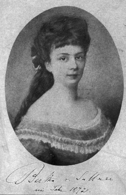 Bertha Kinsky (later von Suttner) in 1872, around the time she first met Nobel.