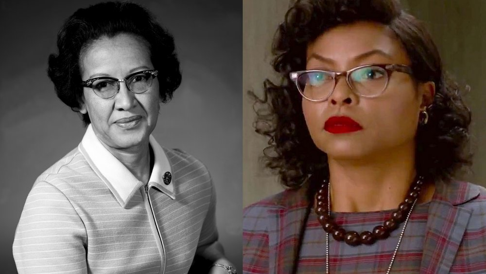 "Katherine Johnson (left), the ""computer"" portrayed by Taraji P. Henson in the movie Hidden Figures."