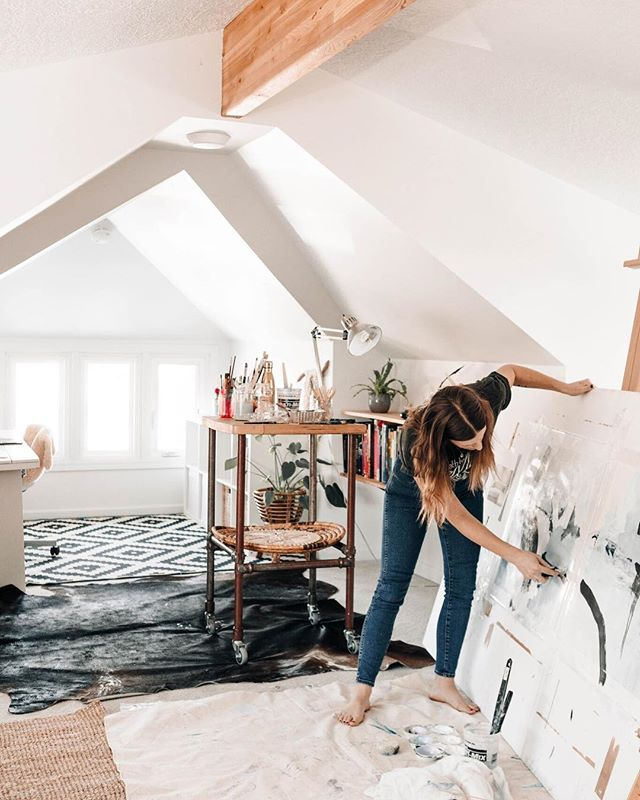 "I loved my little tree house studio but it had some limitations, with no big wall and I could only fit up to 60"" canvas up the stairs, so excited to get the new studio set up and start painting on an even larger scale. Fellow large scale canvas painters, I'd love to hear where you buy your oversized canvas from in the US?? 📷 @danny.owens"