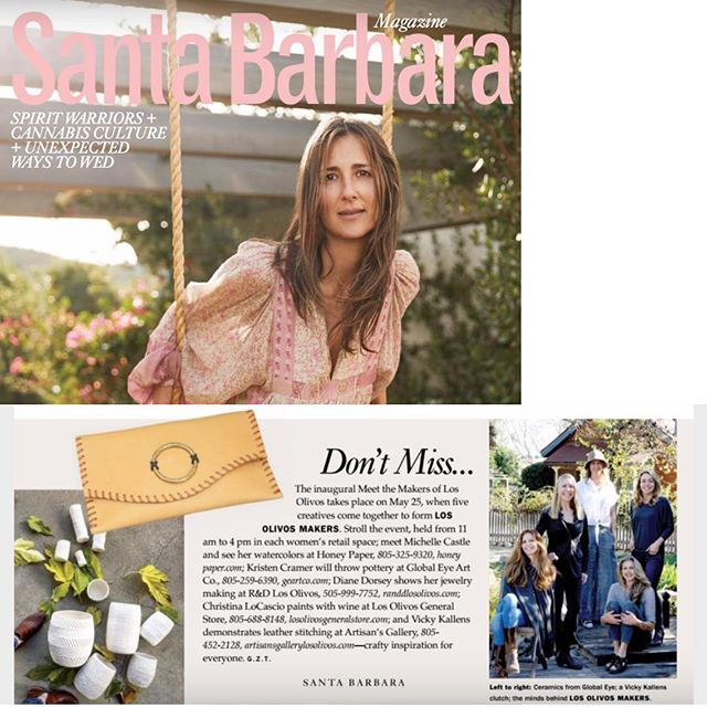Thrilled to be a part of this gathering of talented women 'makers' and retail owners in Los Olivos.  And so grateful to be included in this issue of Santa Barbara Magazine.  Our inaugural 'Meet the Makers' event is May 25, 11am - 4pm... we'll each be demonstrating our creative process! . . . #losolivosmakers #dianedorseydesigns #randdlosolivos #makers #designers #handcrafted #finejewelry #jewelrydesigner #artisanmade #finejewellery #jewelryaddict #jewelrylover @santabarbaramag #losolivosca