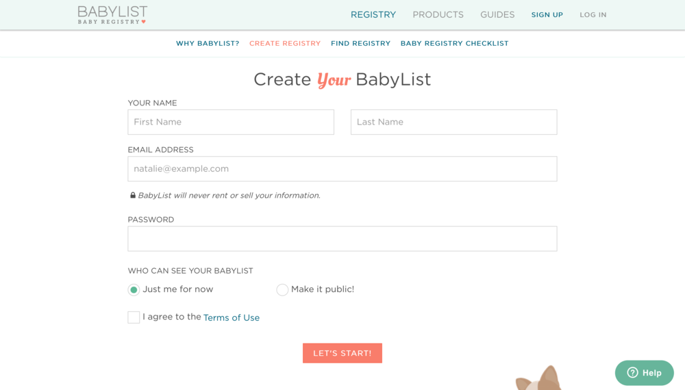 PHOTOGRAPHY BABY REGISTRY