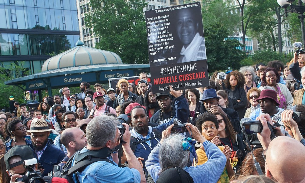 #SayHerName vigil in remembrance of black women and girls killed by the police, Union Square, New York. Photograph: Tim Knox for the Guardian