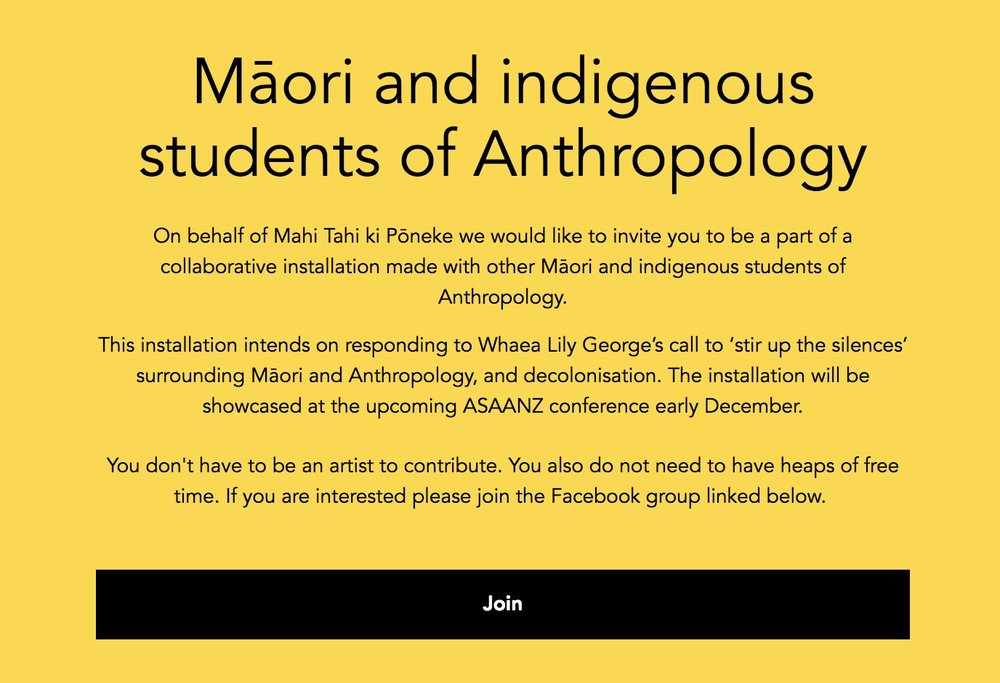 Invitation to Māori and indigenous students of anthropology