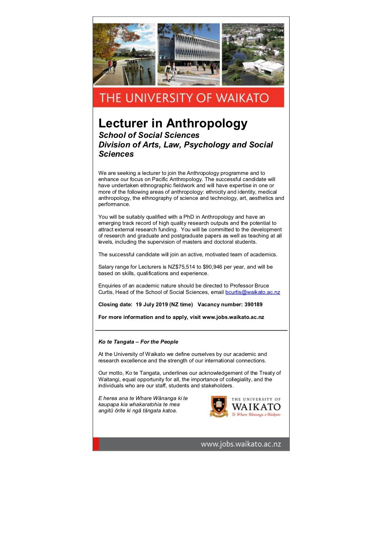 Position available: Lectureship in Social Anthropology at