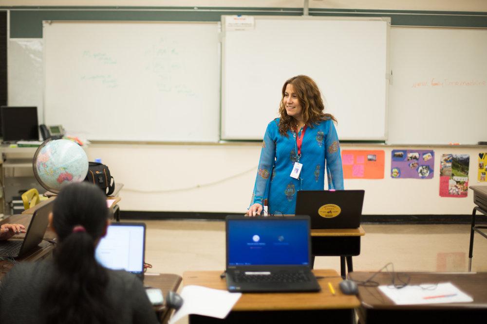 Alexandra Nahill leads an Adult Education class.