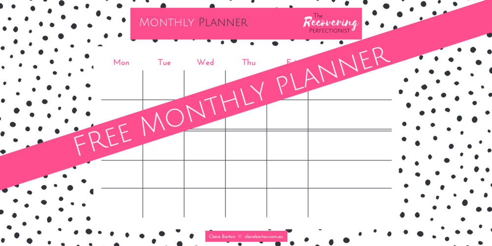 Claire Barton The Recovering Perfectionist Monthly Wall Planner