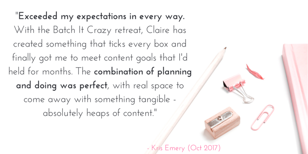 Claire Barton - Batch It Crazy Retreat - Testimonial