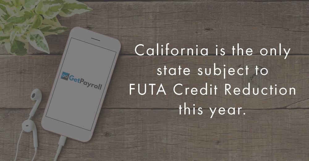 GetPayroll California FUTA Credt Reduction 2016