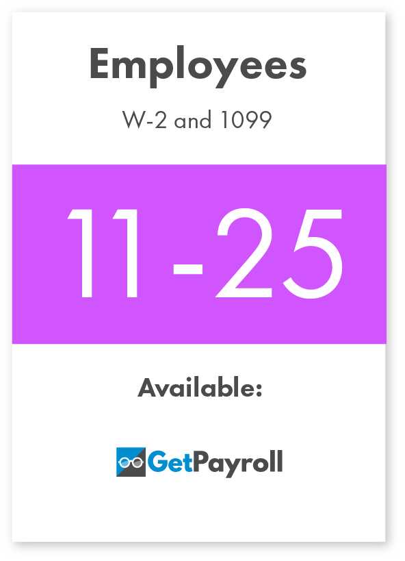 GetPayroll for 11-25 W-2 employees and 1099 contractors