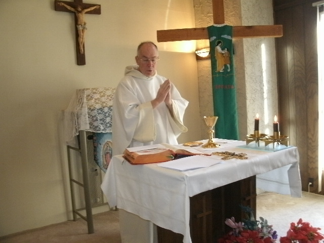 Fr. Thomas Coughlin celebrates Mass in our house chapel in San Antonio, TX.