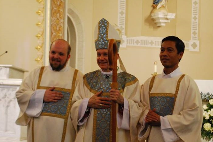 From Left to Right: Deacon Br. Adam Zawadzki, OP Miss.; Bishop Thomas John Paprocki (Diocese of Springfield, IL); Deacon Br. Fernando Solomon, OP Miss.