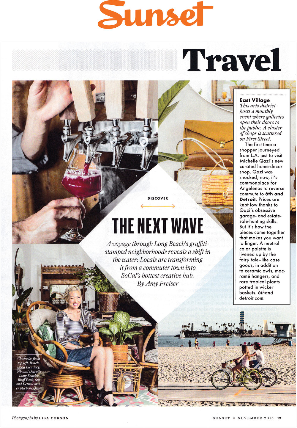 6th And Detroit and it's owner, Michelle Qazi, get featured in  Sunset Magazine  highlighting the new growth and character of Long Beach.