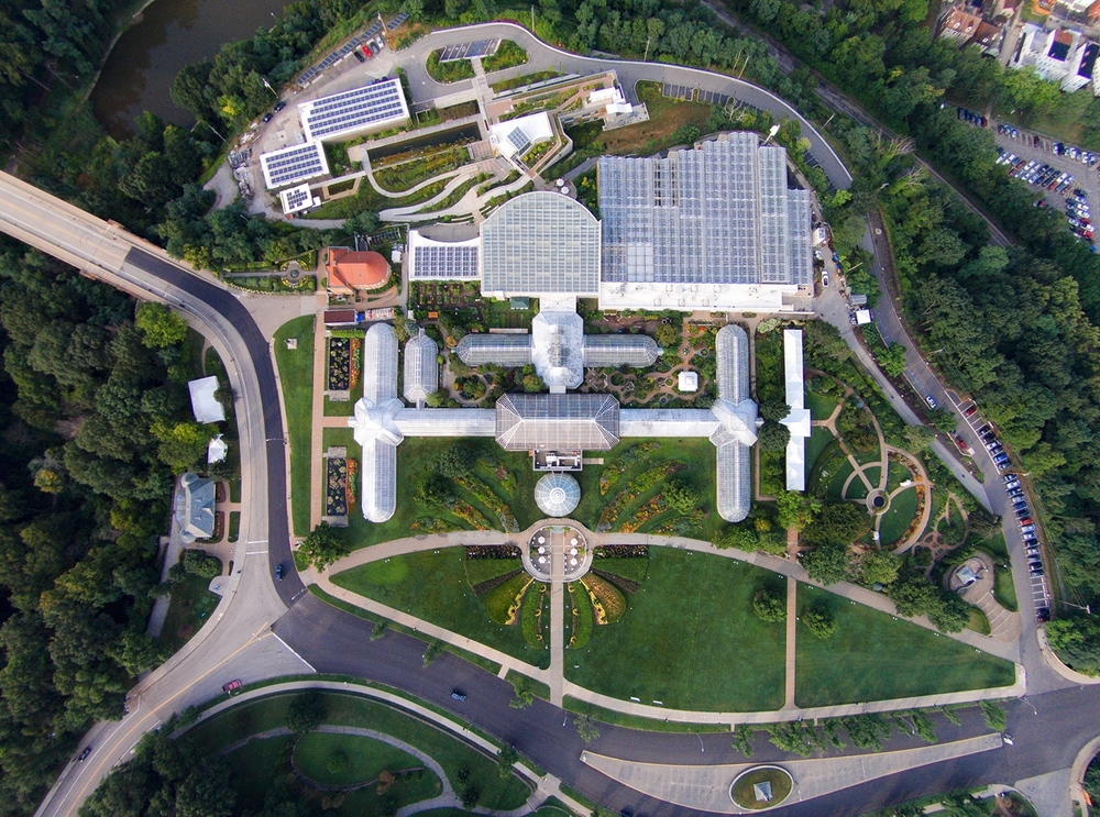 ARIEL VIEW OF PHIPPS AND SCHENLEY PARK