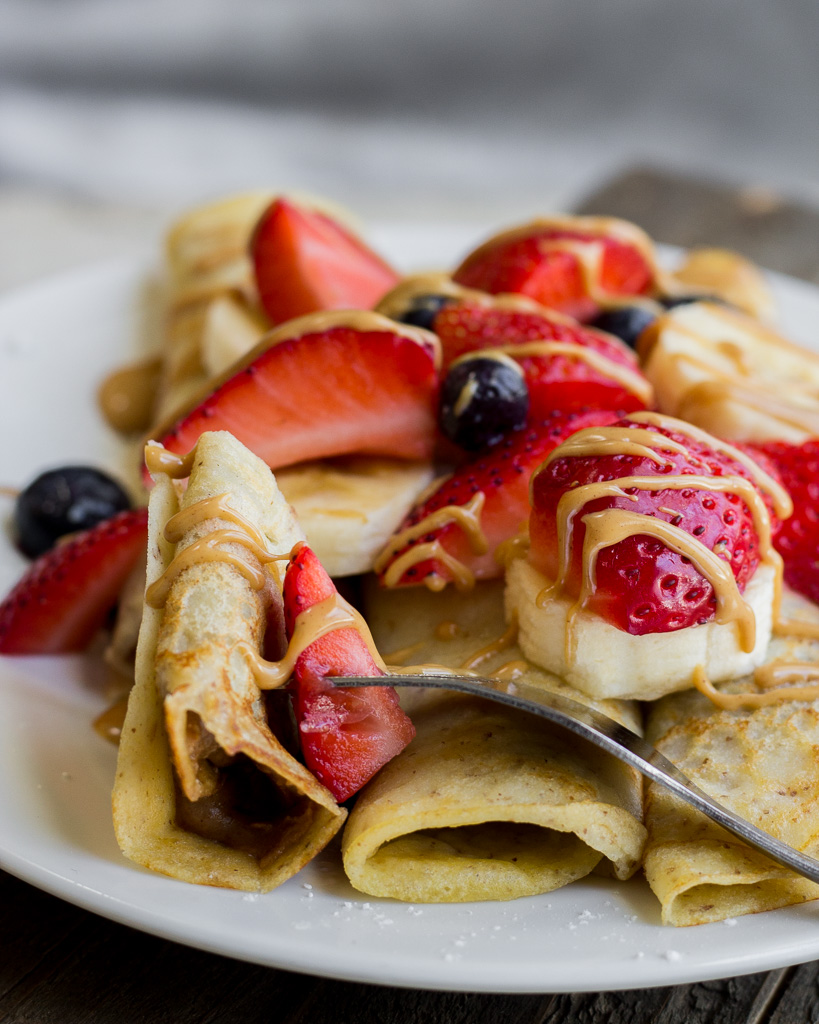 Gluten Free Protein Powered Peanut Butter Crepes - Delicious and Healthy AF