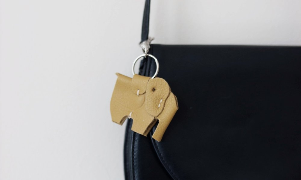Elephant keyring made of leather off-cuts by DoubleCow.