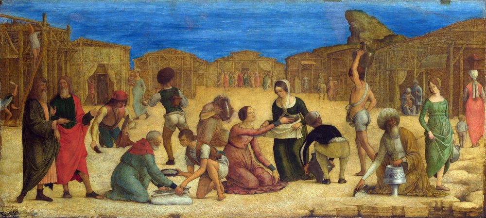 The Israelites gathering manna, by Ercole de' Roberti