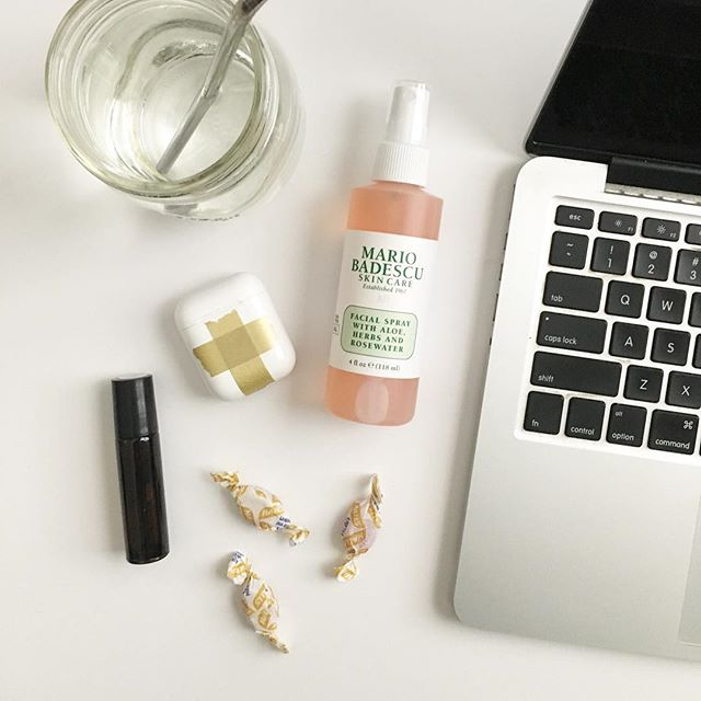 Writing day arsenal: 🖊Thanks to @neenahgrace for the rosewater facial spray (it's like splashing beauty water on my face to wake myself up 😆) 🖊Thanks to @mattoxshuler for the AirPods and @spotify for the Peaceful Piano playlist 🖊Thanks to @mom.life.essentials for the Lift essential oils roller bottle to boost my mood 🖊Thanks to the weather change for the cold and the need for cough drops 🖊Thanks to grandparents for watching E 🖊Thanks to the Lord for the burning fire in my bones to get this book out of my brain . . What helps you focus in your work?