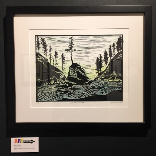 """Dead Man's Cove,"" 1/10, 9""x11"" Hand-Colored Blockprint, $300"