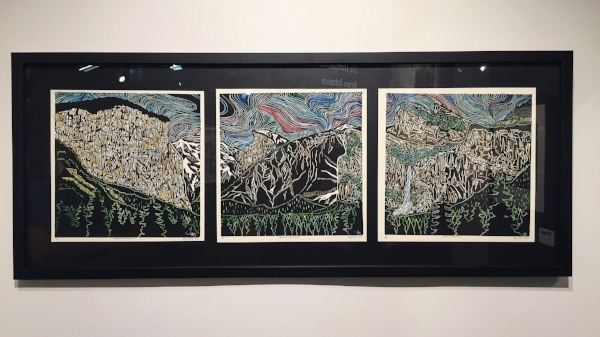 """Yosemite Tunnel View,"" 1/5, 12""x12"" (each) Hand-Colored Blockprint, $550"