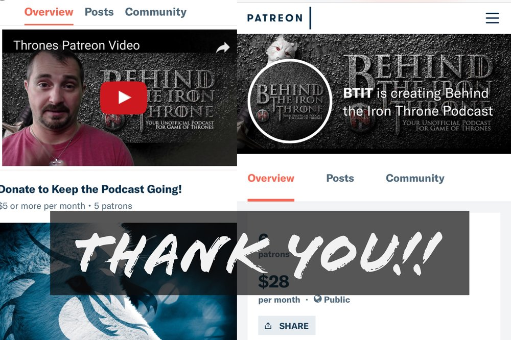 Patrons and Patronesses... - We would like to thank all of Patrons and Patronesses for their support.   In return you will be getting special perks, early content and much more!If you would like to support the show check out our Patreon Page!