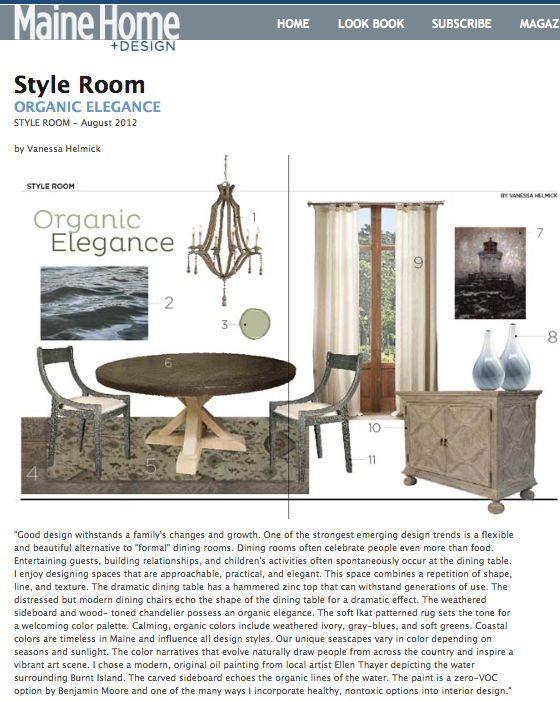 "Maine Home and Design trend watch by Fiore Interiors, ""Organic Elegance"""
