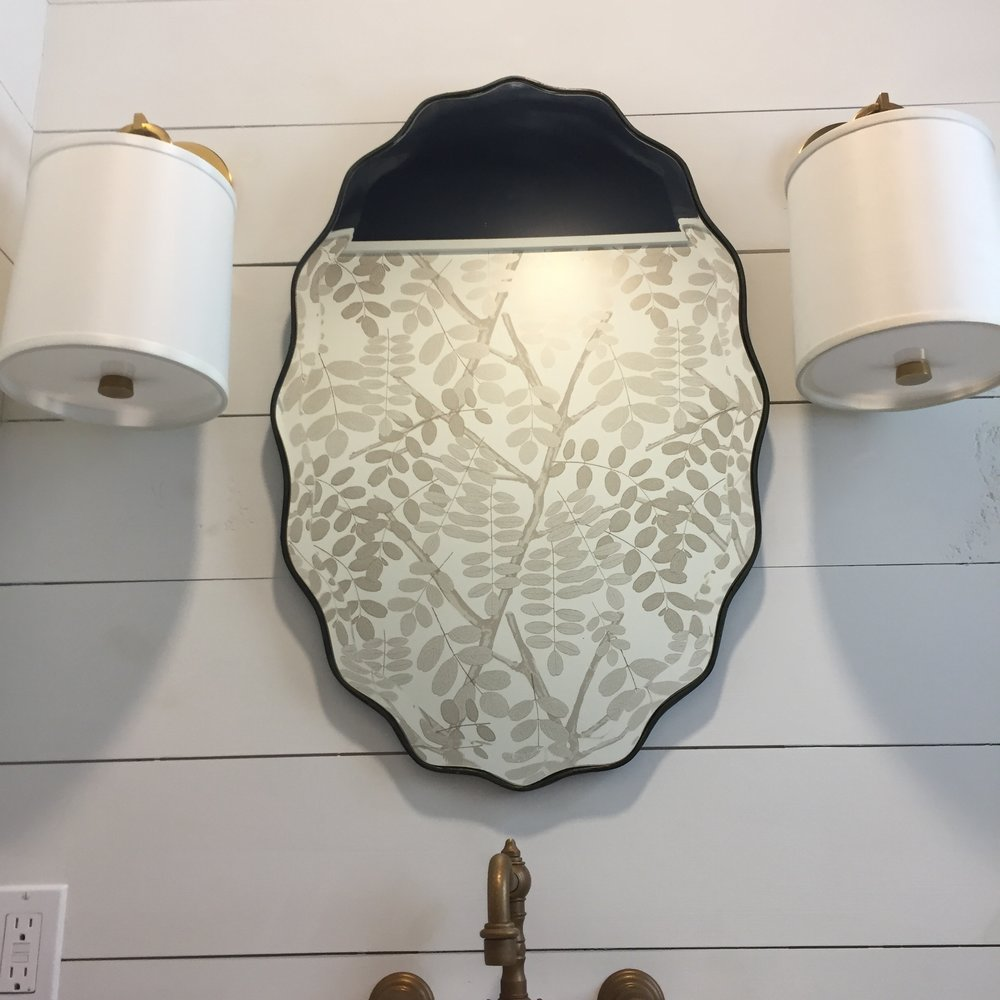 Powder bath: nickel gap + navy ceiling + wallpaper =beautiful little space!