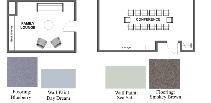 These are the flooring and wall colors chosen by the school.