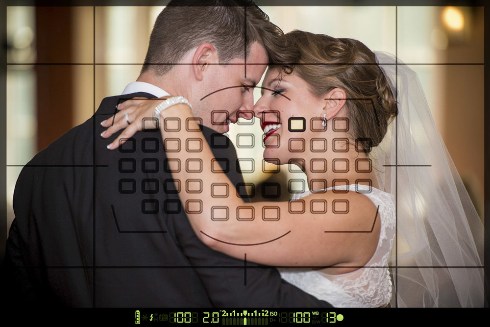 A wedding photo overlaid with the sample area of spot metering